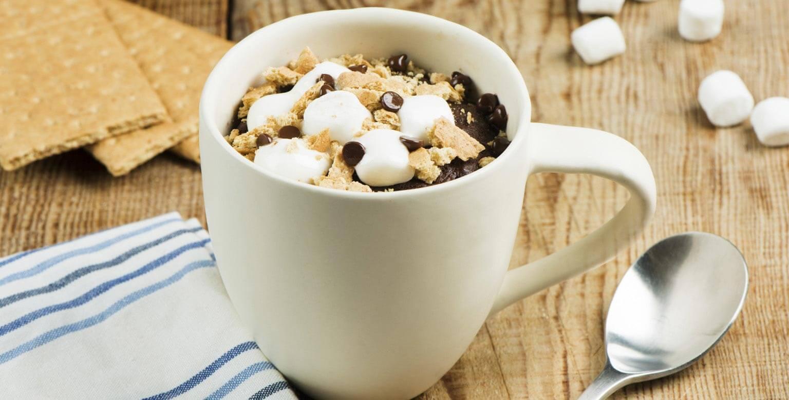 Voir la recette - Mug cake S'mores et chocolat