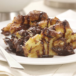Chocolate Bread Pudding With Two Chocolate Sauces Recipe — Dishmaps
