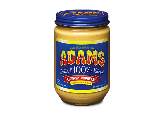 Adams<sup>®</sup>  100% Natural Crunchy Unsalted Peanut Butter