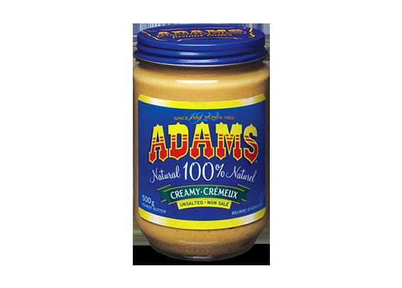 Beurre d'arachide crémeux Adams<sup>®</sup> 100 % naturel non salé