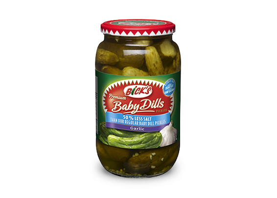 <strong>Bick's<sup>®</sup></strong> 50% Less Salt Garlic Baby Dill Pickles