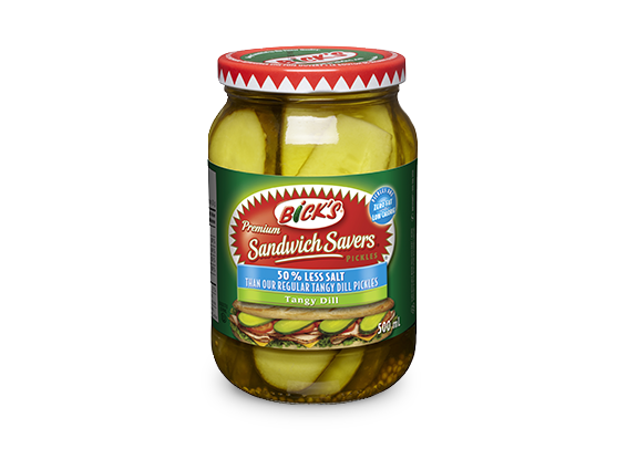 <strong>Bick's<sup>®</sup> Sandwich Savers<sup>®</sup></strong> 50% Less Salt Tangy Dill Pickles