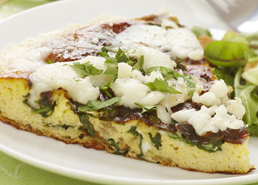 Spinach, Watercress and Goat Cheese Frittata
