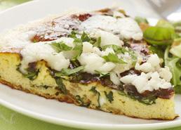 Frittata aux épinards, au cresson et au fromage de chèvre