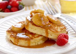 Fluffy Pancakes with Banana Caramel Sauce