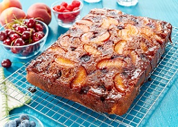 Fresh Peach and Cherry Upside Down Cake