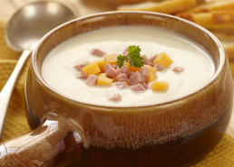 Onion Bisque with Ham and Cheese