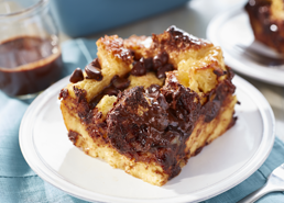 Chocolate Bread Pudding with Chocolate Sauce