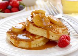 Fluffy Pancakes with Banana Caramel Sauce