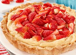 Tarte à la crème aux fraises et chocolat blanc