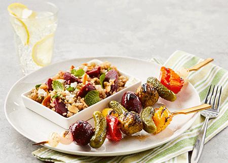 Plant-Based Beet + Quinoa Salad & Veggie Kebob
