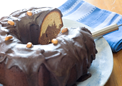 Chocolate and Peanut Butter Marble Cake