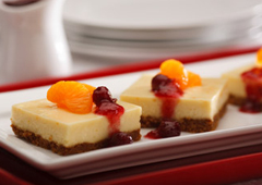 Citrus Cheesecake with Cranberry Topping