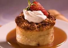 Raisin Bread Pudding with Cinnamon Caramel Sauce