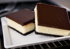 White Chocolate Cheesecake Squares with Dark Chocolate Glaze