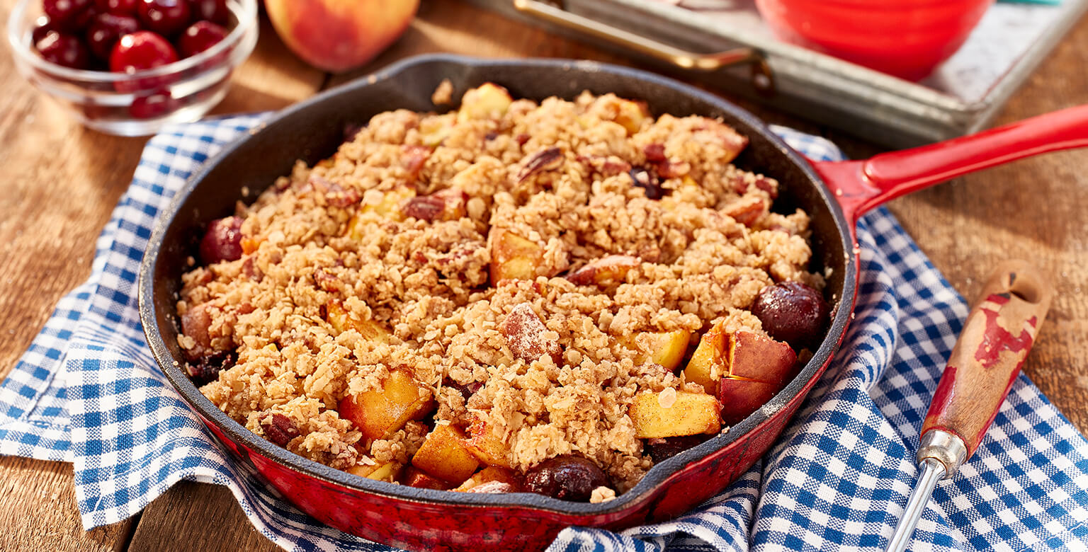 Cast Iron Cherry and Peach Crisp