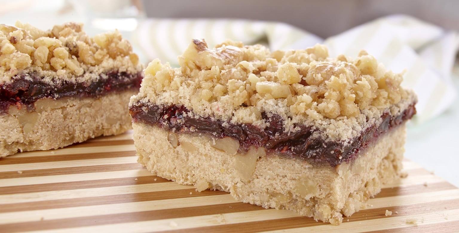 Voir la recette - Barres aux framboises et raisins secs