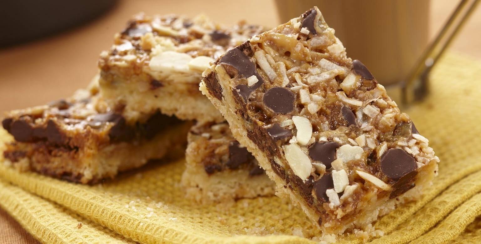 Voir la recette - Barres magiques au chocolat et au caramel