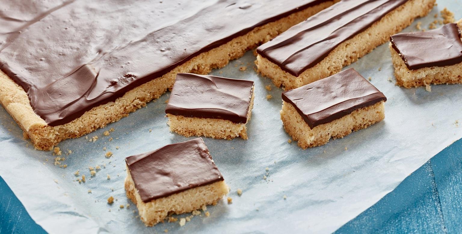 Voir la recette - Barres sablées au chocolat sans gluten*