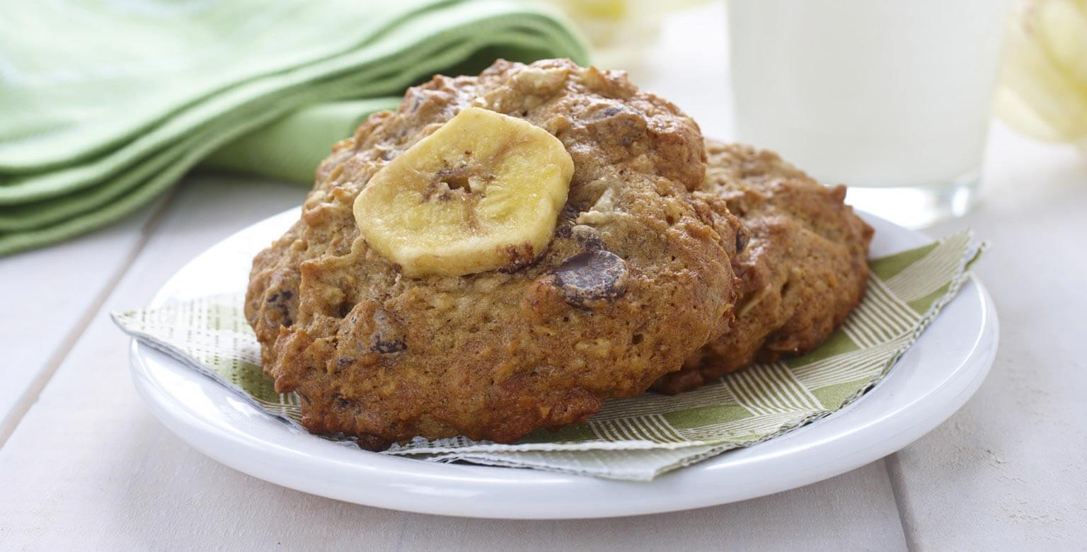 Voir la recette - Biscuits aux bananes et aux pépites de chocolat