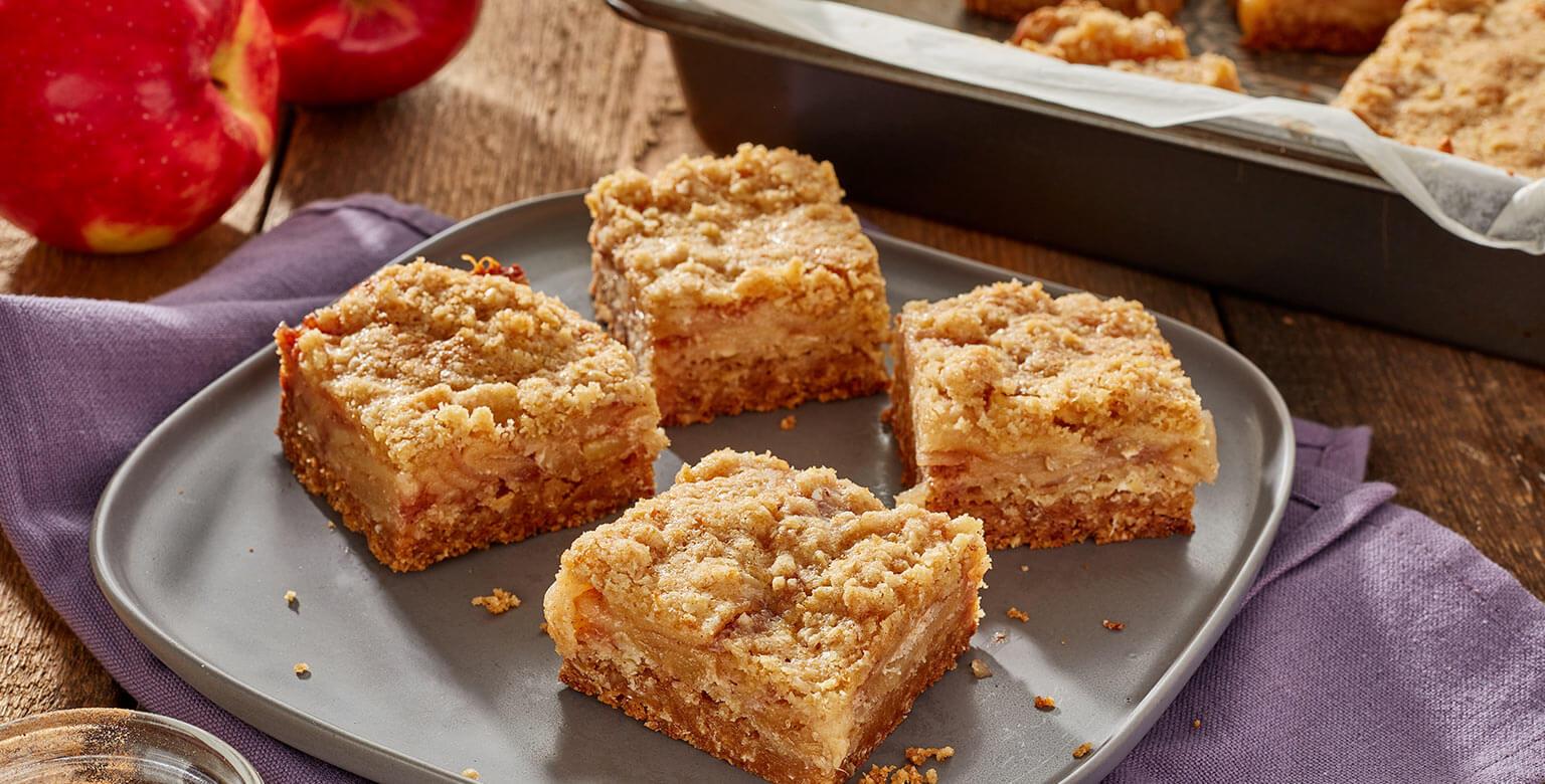 Voir la recette - Carrés à la tarte aux pommes