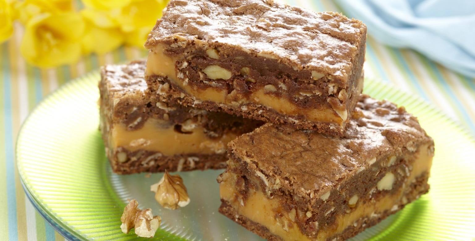 Voir la recette - Carrés au chocolat marbré de caramel écossais