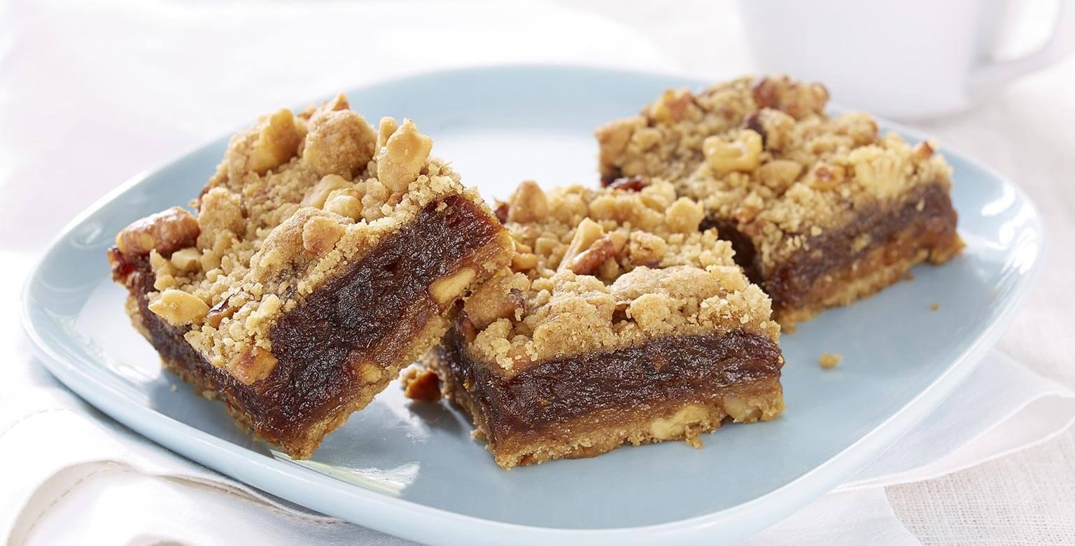 Voir la recette - Carrés aux dattes et aux noix sans gluten*