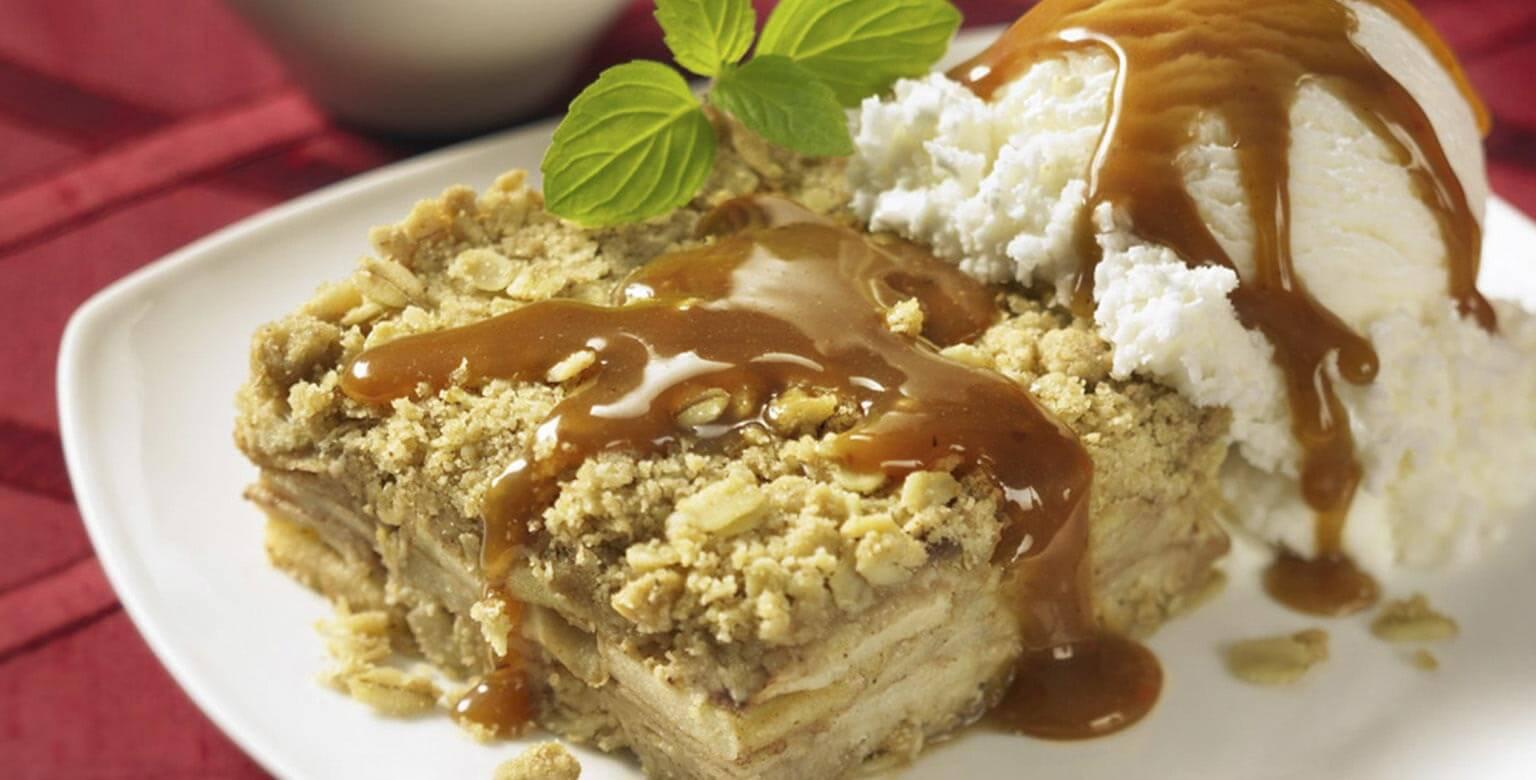 Voir la recette - Carrés aux pommes et au caramel