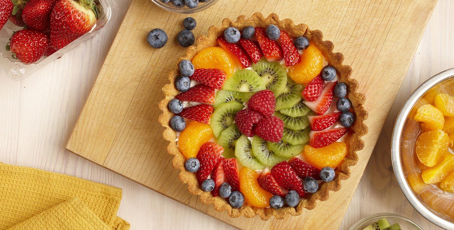 Voir la recette - Flan aux fruits