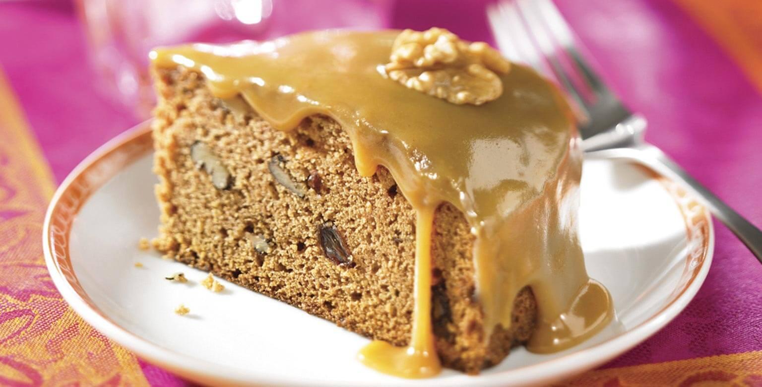 Voir la recette - Gâteau à la compote de pommes avec glaçage au caramel