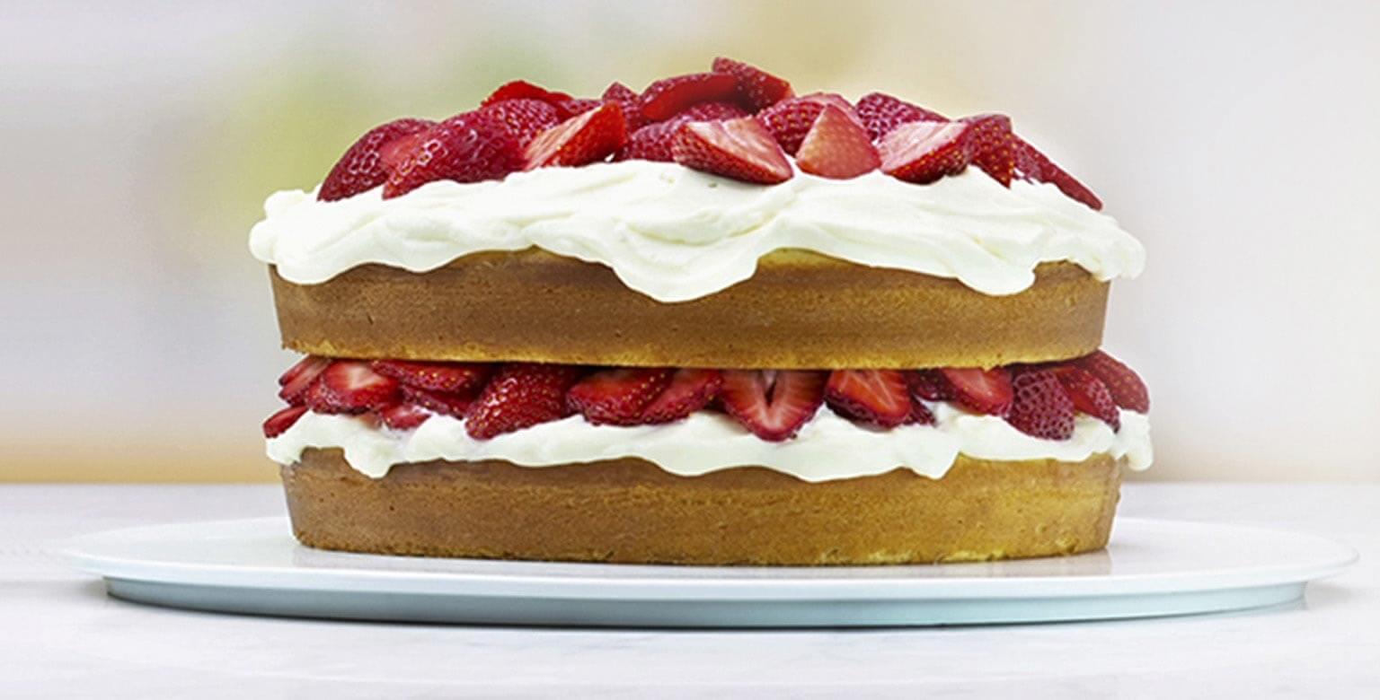 Voir la recette - Gâteau à la crème et aux petits fruits