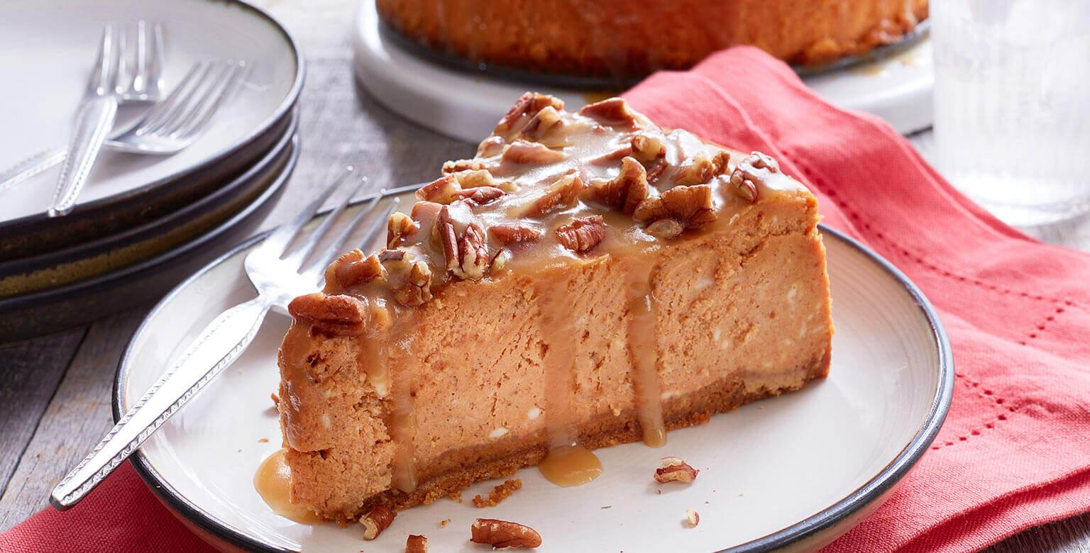 Voir la recette - Gâteau au fromage à la citrouille, à l'érable et aux pacanes