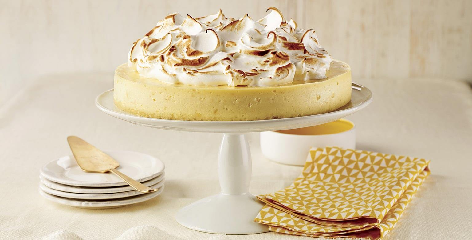 Voir la recette - Gâteau au fromage au citron meringué