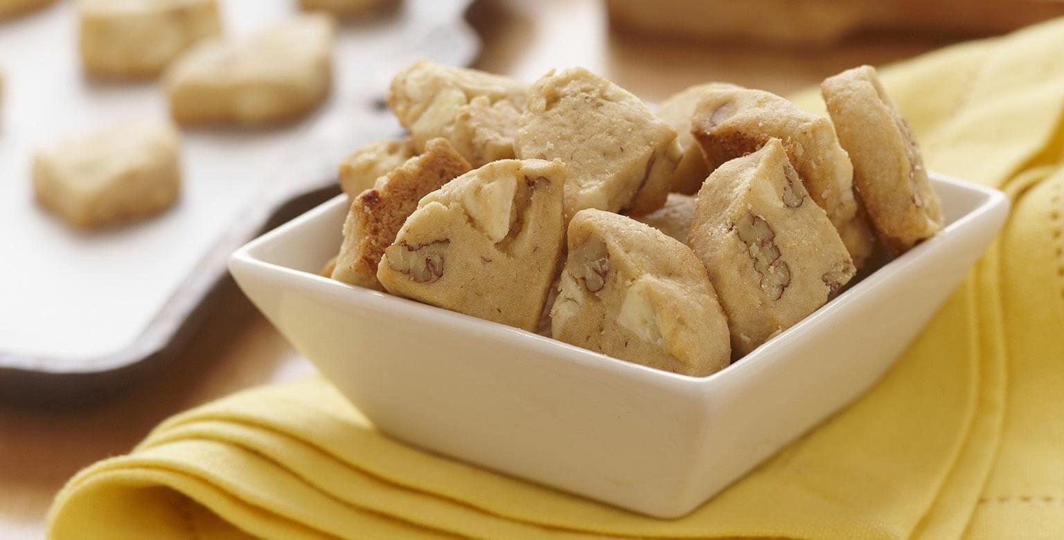 Voir la recette - Morceaux de biscuits au chocolat blanc chauds