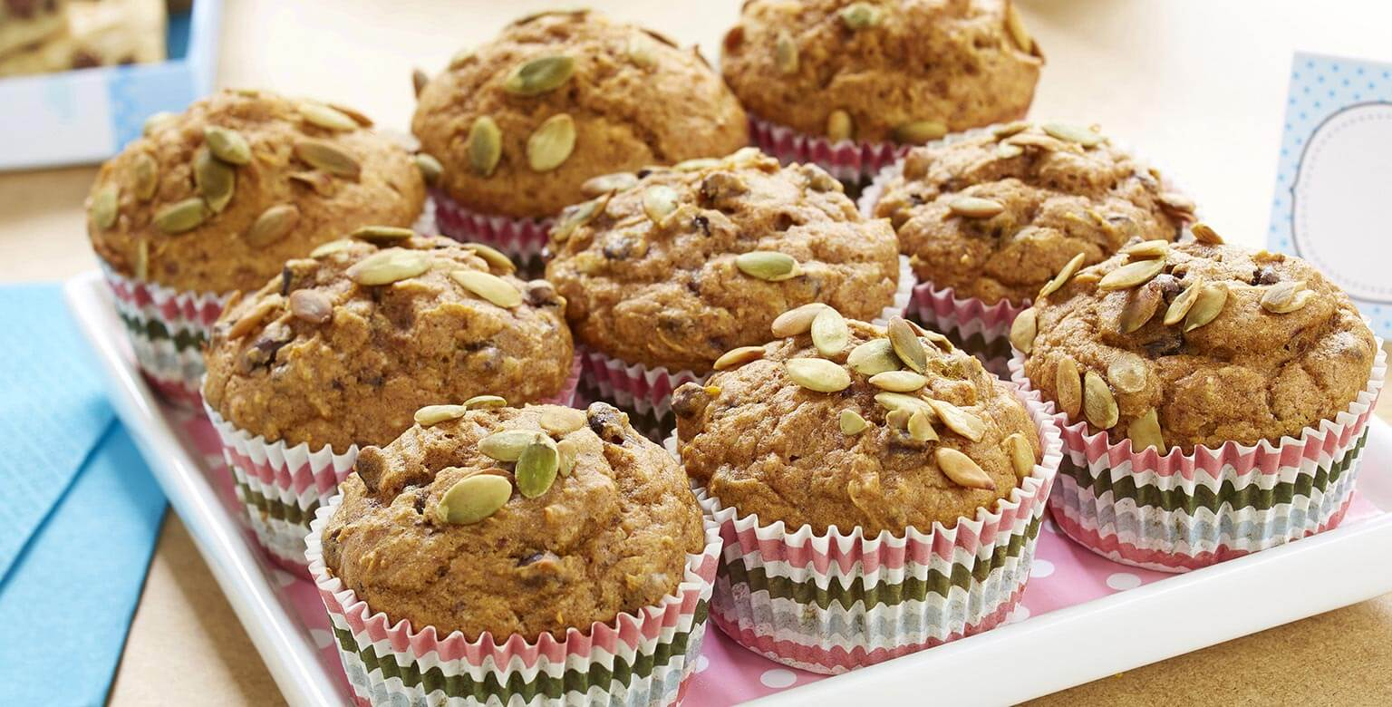 Voir la recette - Muffins à la citrouille et aux brisures de chocolat