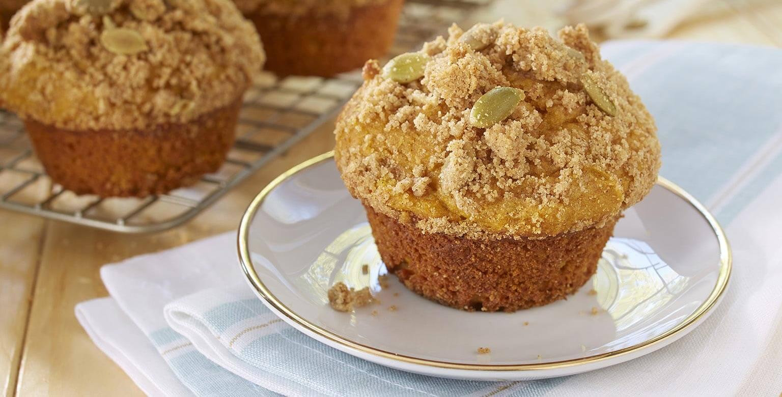 Voir la recette - Muffins à la citrouille sans gluten* avec garniture de streusel