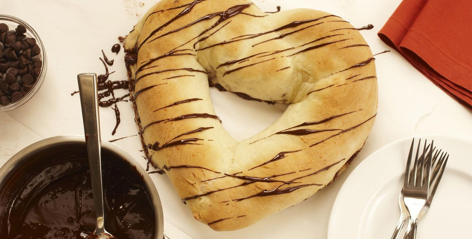 Voir la recette - Pain au chocolat en cœur