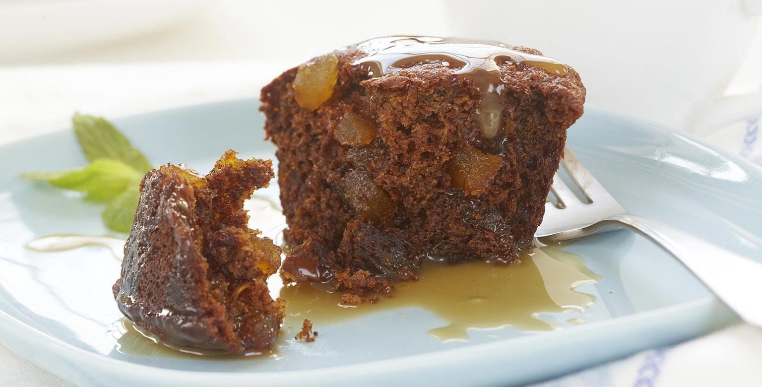 Voir la recette - Pouding au caramel collant avec sauce au caramel chaude