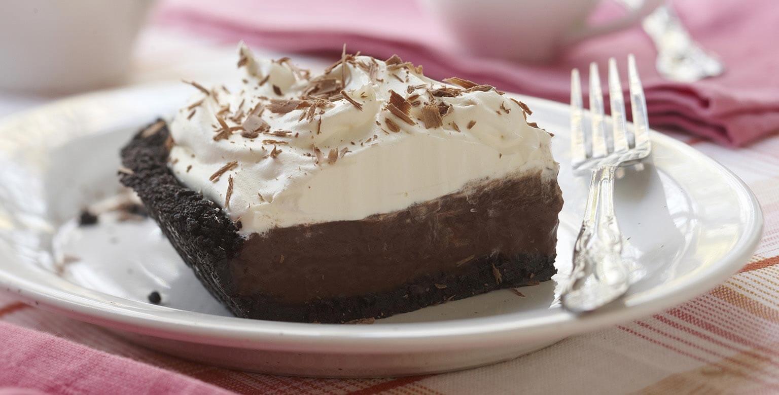 Voir la recette - Tarte à la crème double chocolat