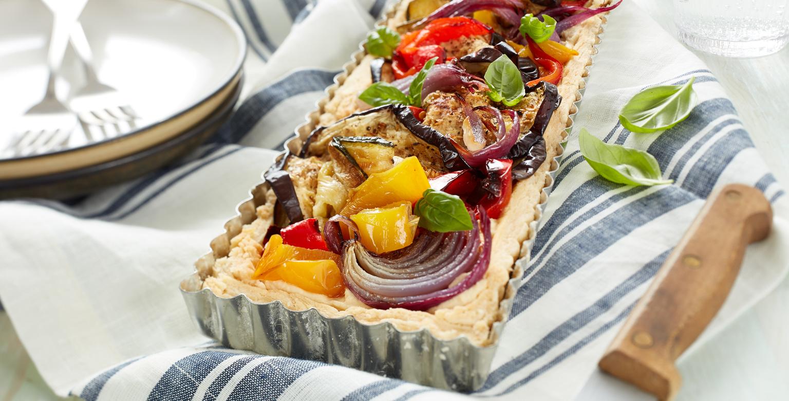 Voir la recette - Tarte méditerranéenne aux légumes grillés