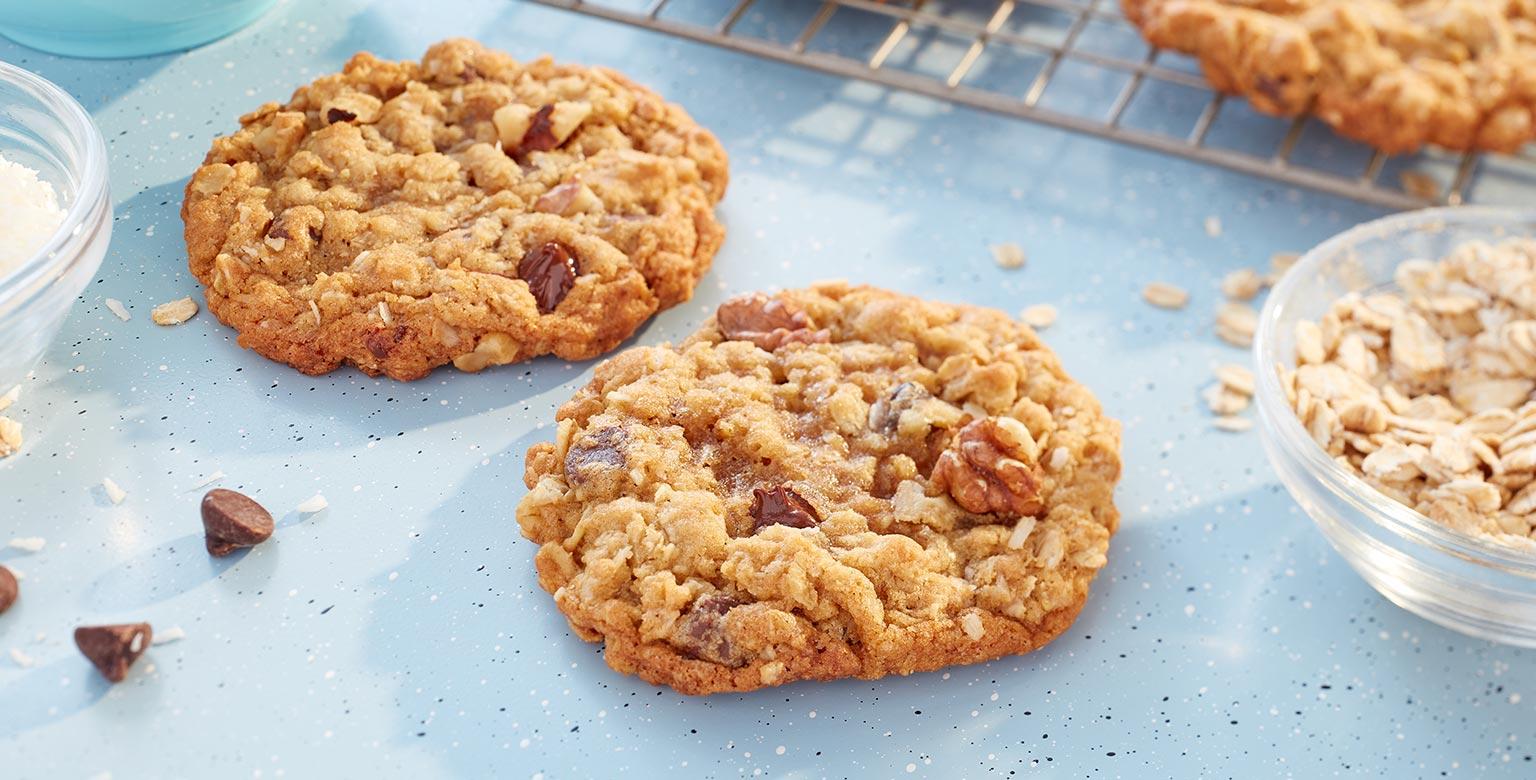 Voir la recette - Biscuits au gruau et pépites de chocolat