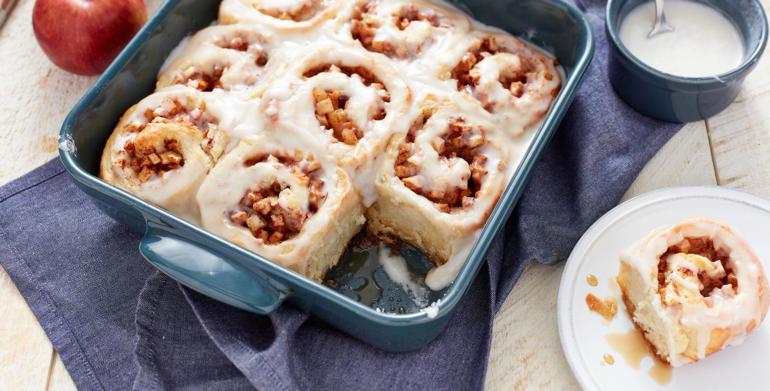 Yeast free apple cinnamon rolls made with Organic flour